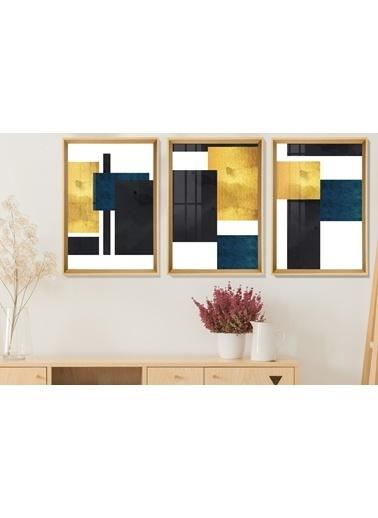 Çerçeve Home  Square Shapes Natural Çerçeve Tablo Seti Renkli